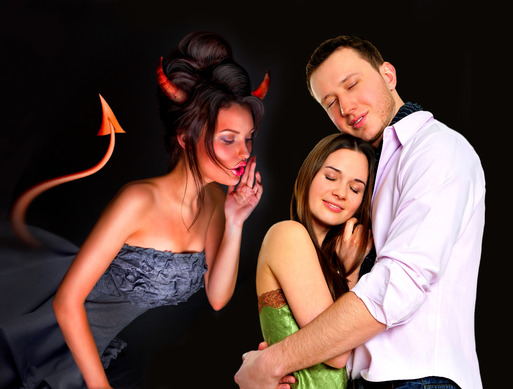 Young couple embracing in love. Devil whispering wrong things to