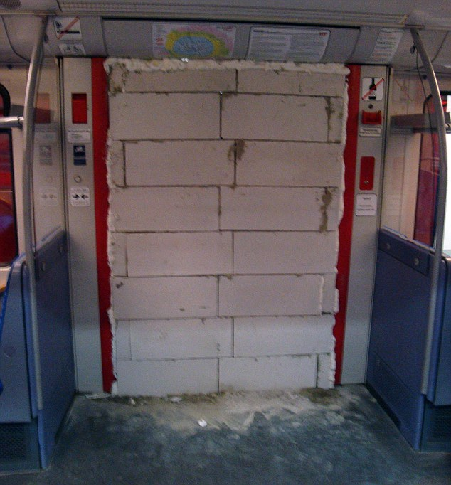 Vandals Brick Up Train Door
