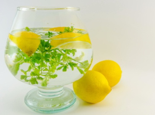 Dietary cocktail of lemons and parsley  in a jar